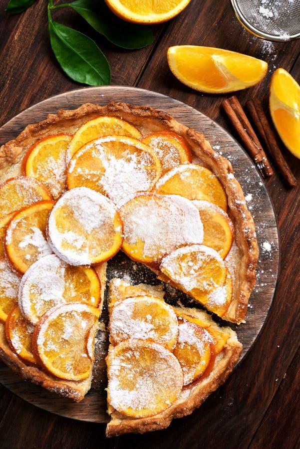 橙色饼,顶视图 库存照片