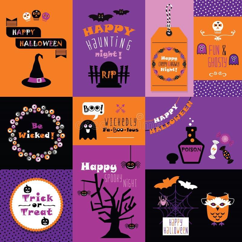 橙色,桃红色和紫色愉快的万圣节微型卡集 库存例证