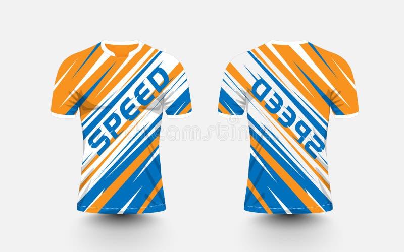 橙色,白色和蓝色条纹样式体育橄榄球成套工具,球衣, T恤杉设计模板 向量例证
