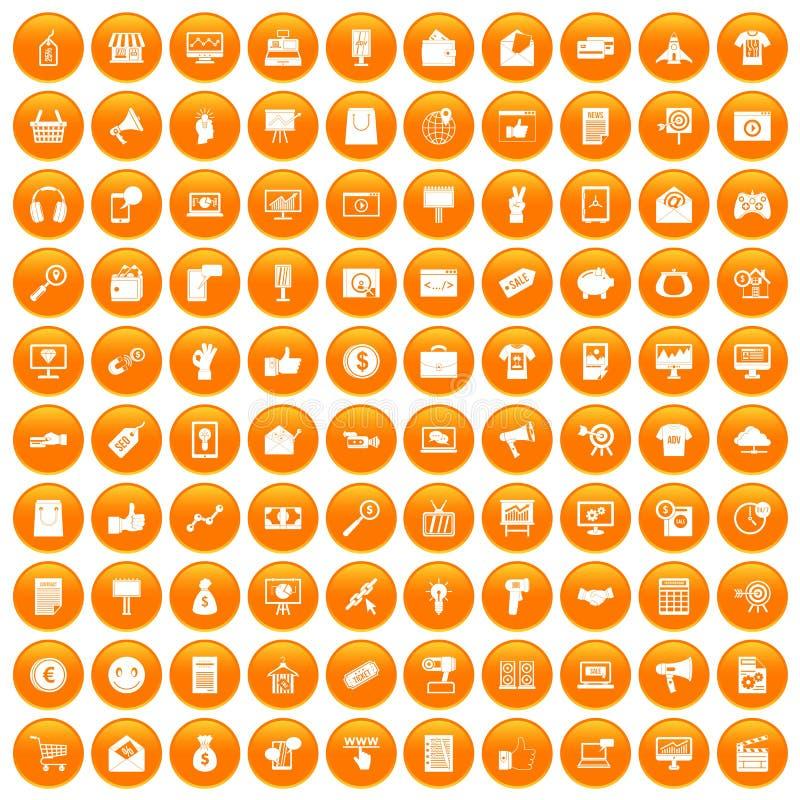 橙色100个互联网营销的象被设置 皇族释放例证