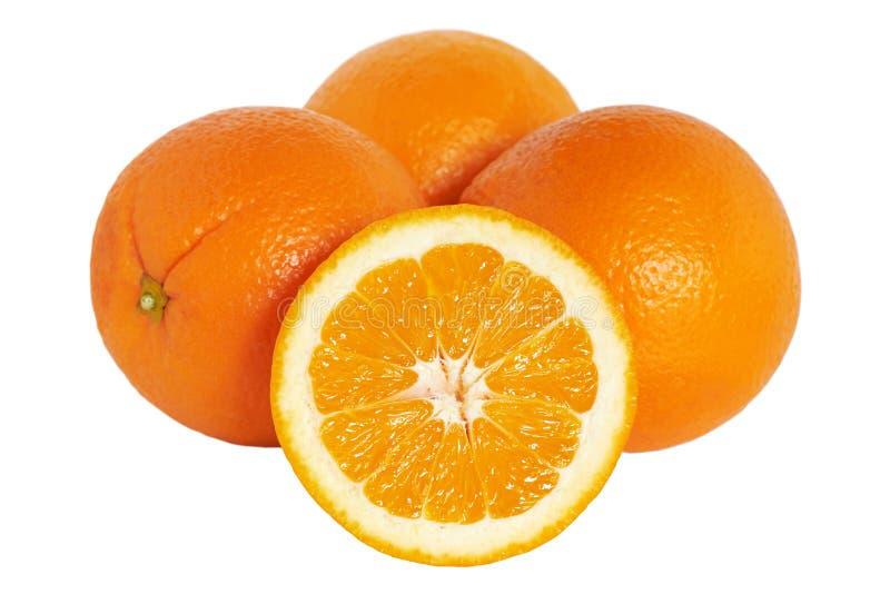 橙色 在白色背景隔绝的小组桔子 图库摄影