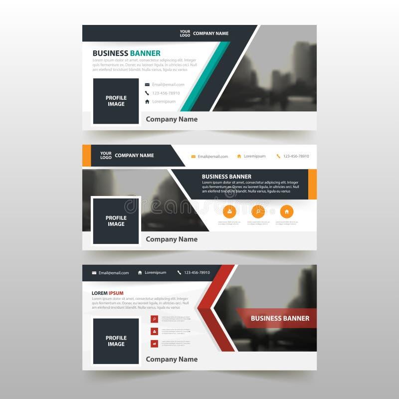 橙色绿色红色公司业务横幅模板,水平的广告业横幅布局模板平的设计集合 库存例证