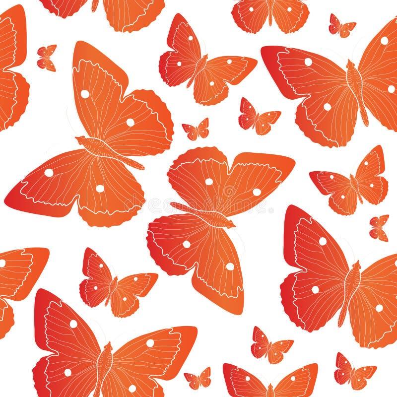 橙色蝴蝶无缝的样式 夏天心情背景 也corel凹道例证向量 库存例证