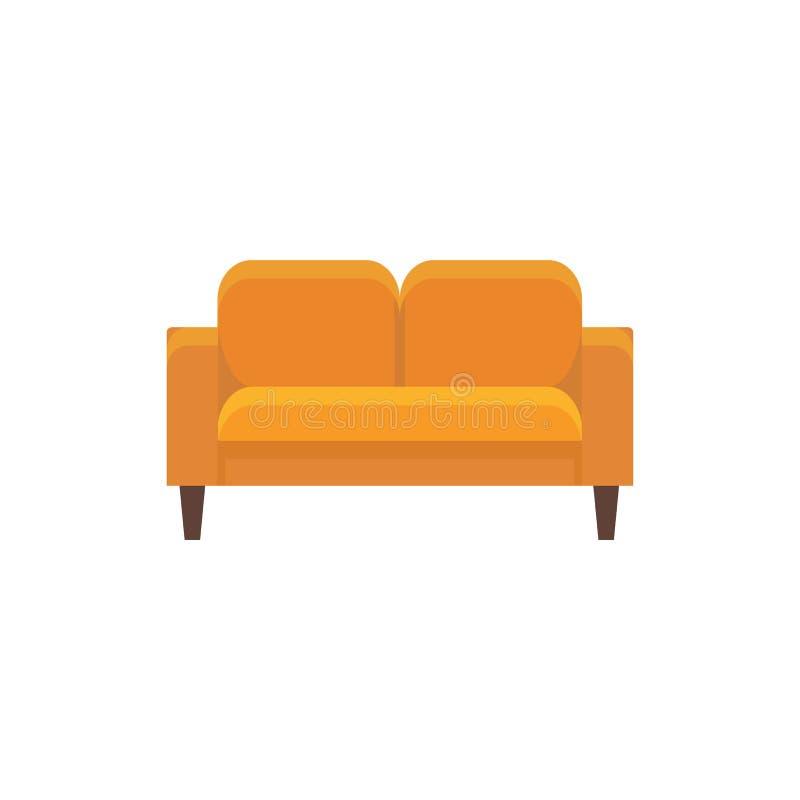 橙色loveseat 也corel凹道例证向量 双重沙发平的象  向量例证