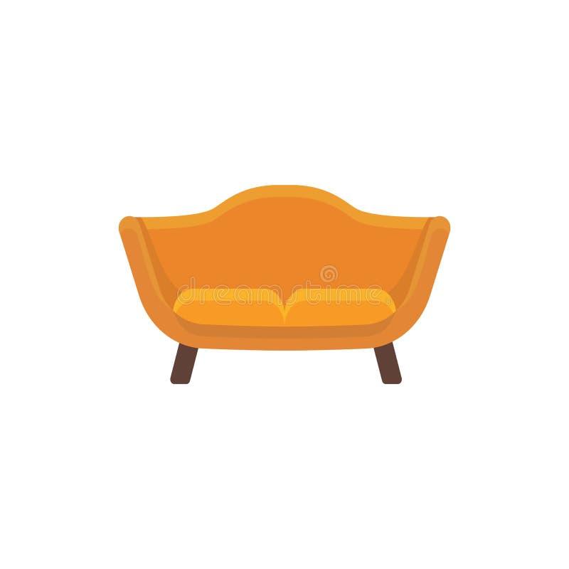 橙色loveseat 2 seaters沙发 也corel凹道例证向量 平的象 向量例证