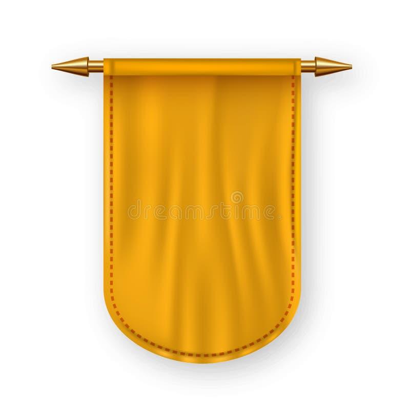 橙色Pennat旗子传染媒介 给帆布横幅做广告 上盘Pennat 纹章学3D现实被隔绝的例证 库存例证