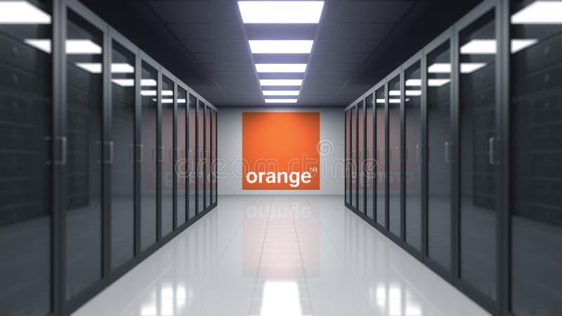 橙色S A 在服务器屋子的墙壁上的商标 社论3D翻译 皇族释放例证