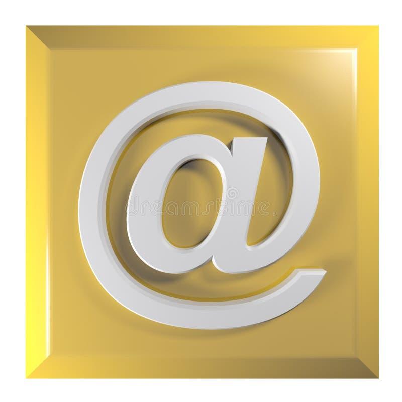 橙黄在-电子邮件按钮- 3D翻译例证 皇族释放例证