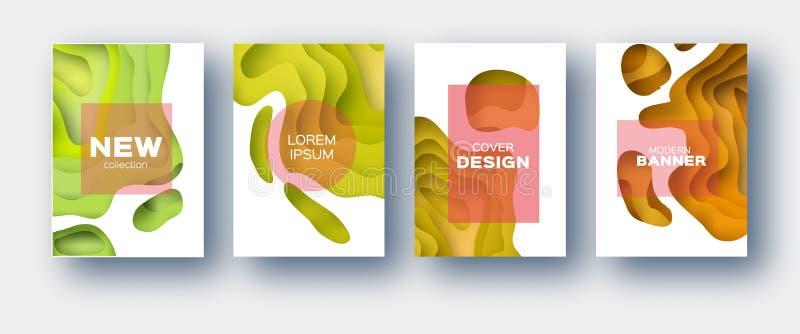 橙黄纸裁减波形 企业介绍的,飞行物,海报层状曲线Origami设计 套4 库存例证