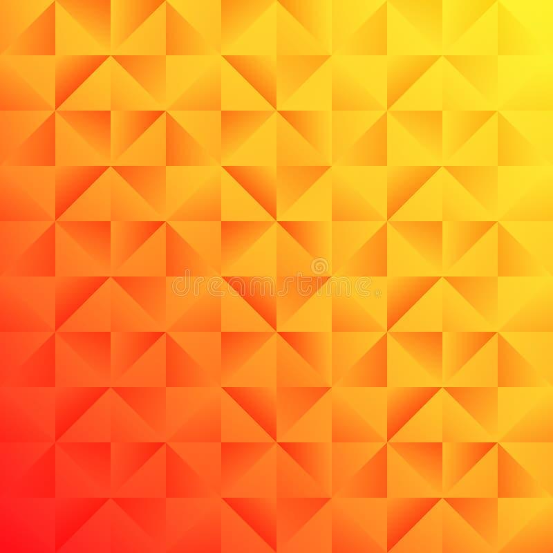 橙黄色与无缝的正方形和三角几何样式的梯度背景 库存例证