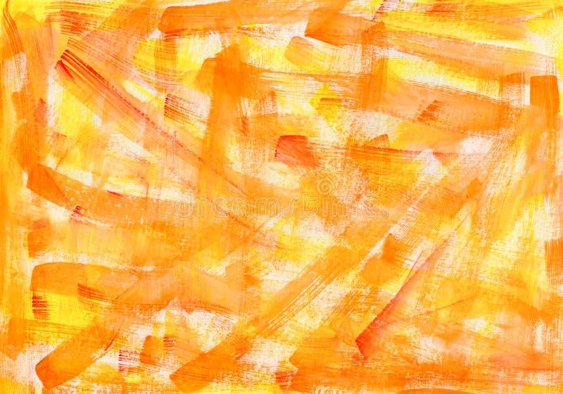 橙黄色水彩宏观织地不很细背景 五颜六色的明亮的手拉的难看的东西水彩画例证 免版税库存图片
