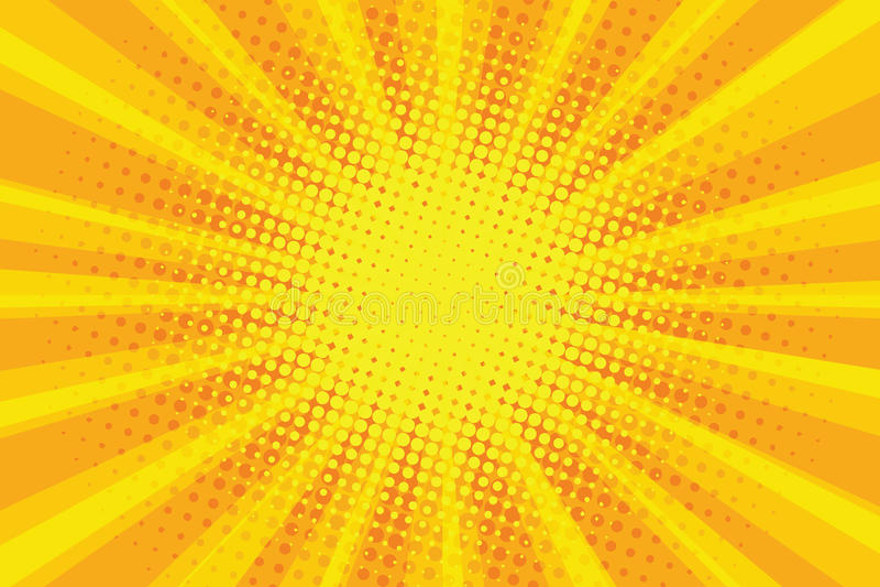 橙黄太阳流行艺术减速火箭的光芒背景 库存图片
