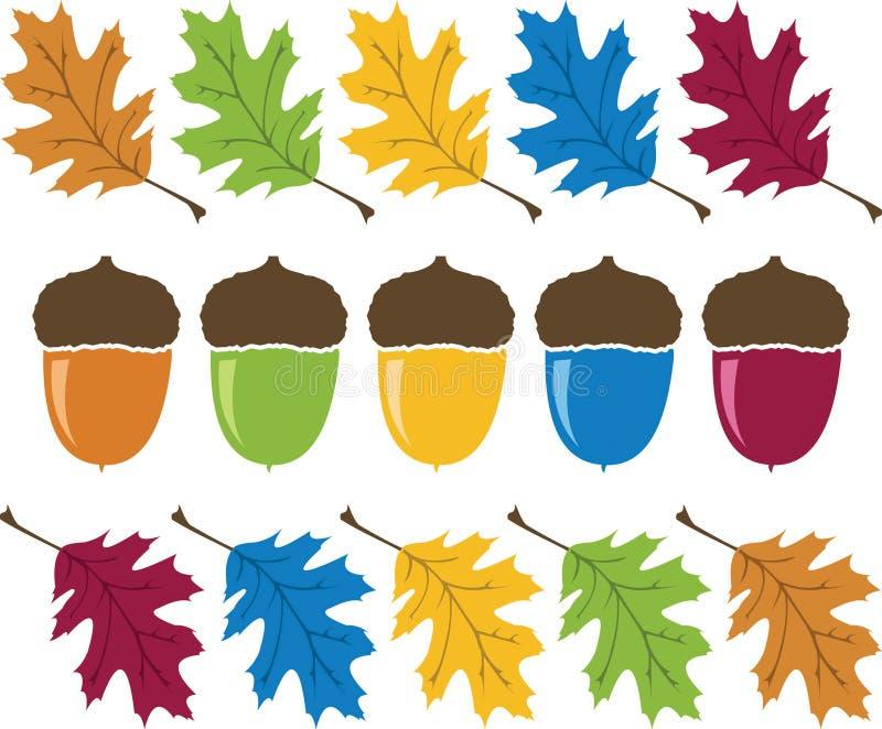 橡子五颜六色的叶子 向量例证