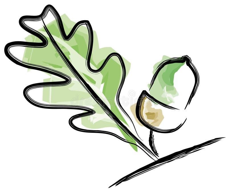 橡子叶子 向量例证