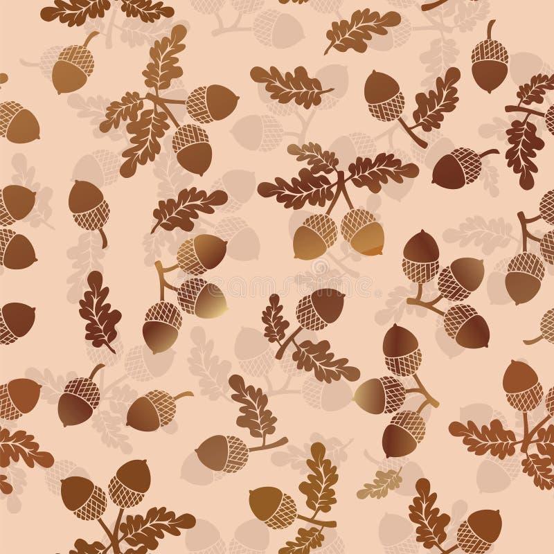 橡子橡木坚果传染媒介无缝的样式背景 向量例证