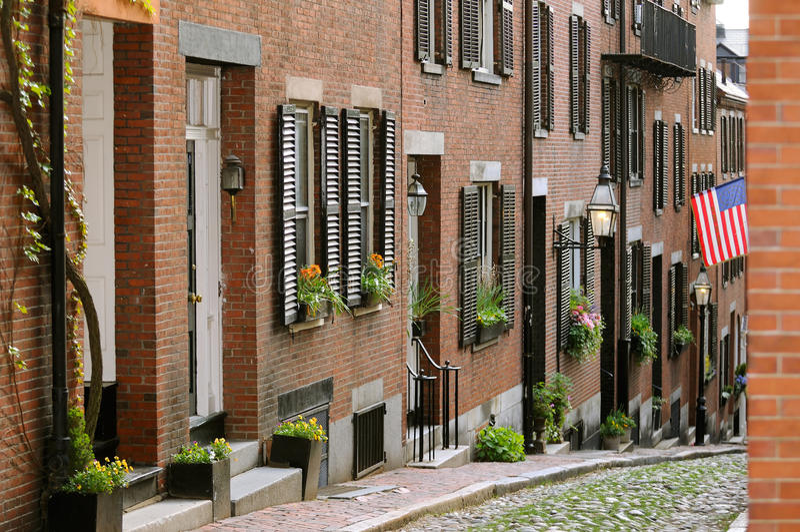 橡子烽火台波士顿希尔街 免版税库存图片