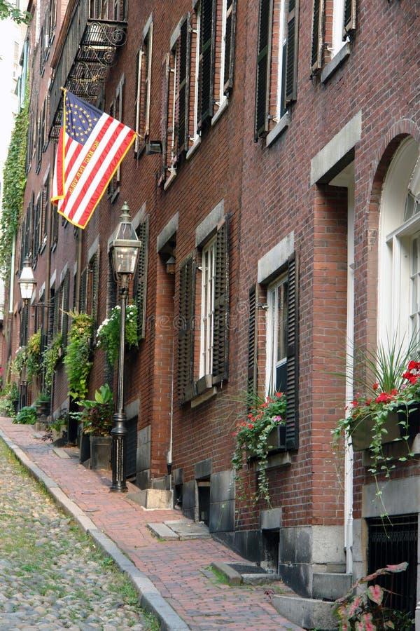橡子美国联邦早期的massachusett s街道 免版税库存照片