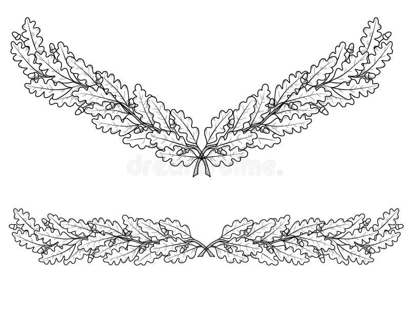 橡木分支剪影  向量例证