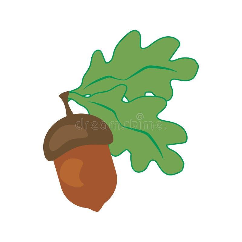 橡木叶子和橡子 向量例证