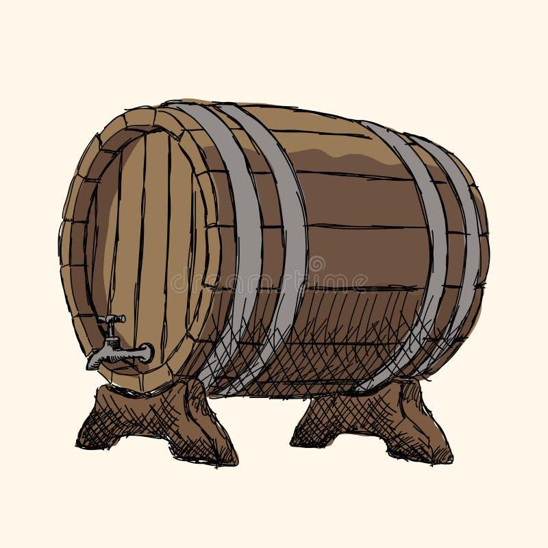 橡木啤酒桶 库存例证