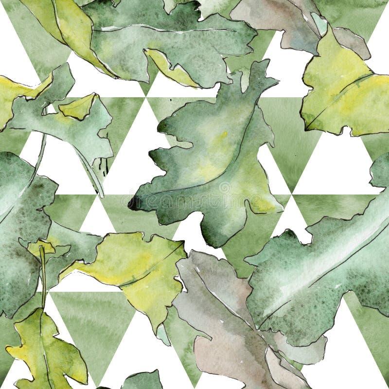 橡木在水彩样式把样式留在 库存例证
