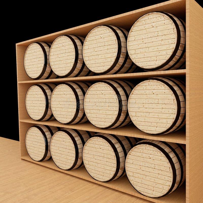 橡木在3D翻译的木商店滚磨 向量例证