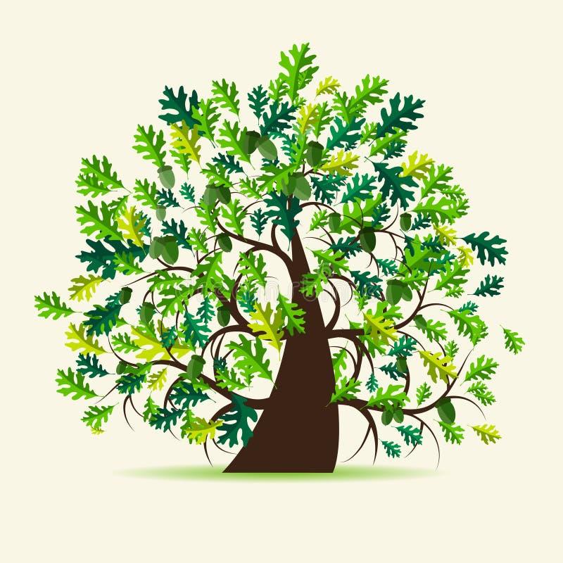 橡木夏天结构树 库存例证