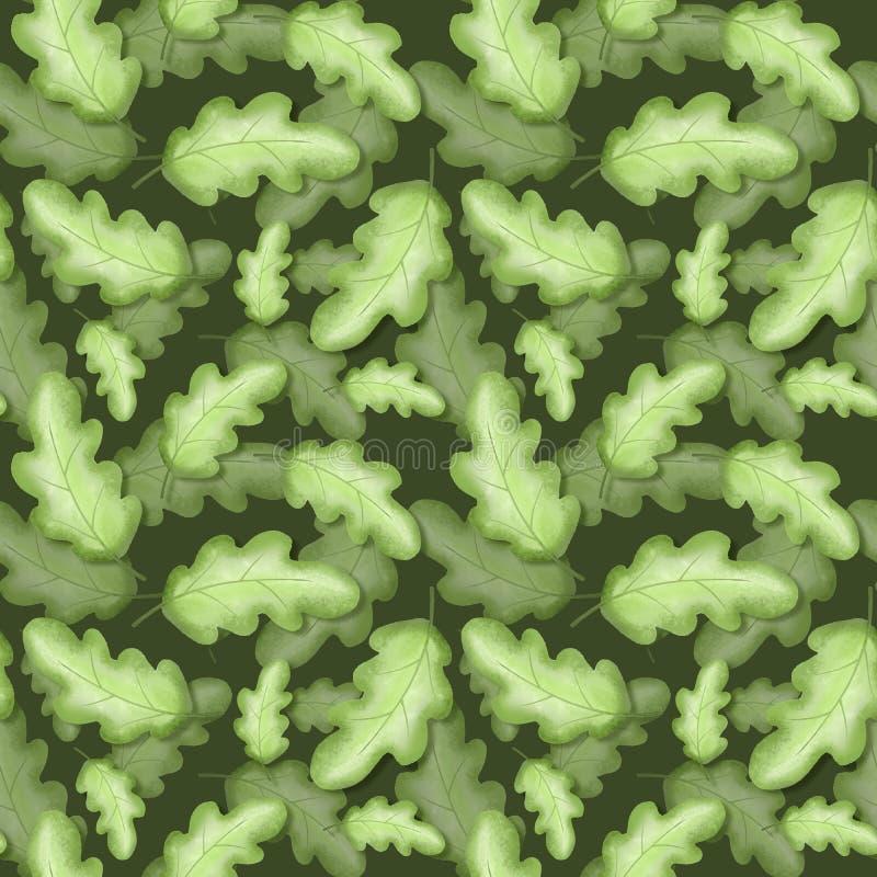 橡木离开无缝的模式 背景花卉绿色 向量例证