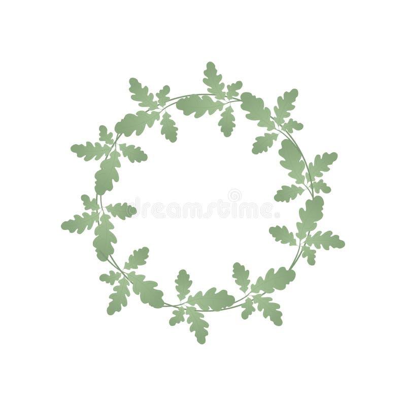 橡木绿色叶子花圈  植物夏天花圈  对文本和设计 向量例证