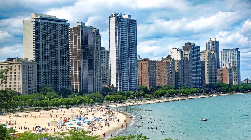 橡木街道海滩在芝加哥 免版税图库摄影