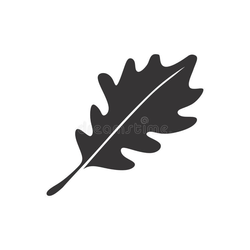 橡木黑白叶子剪影象商标 皇族释放例证