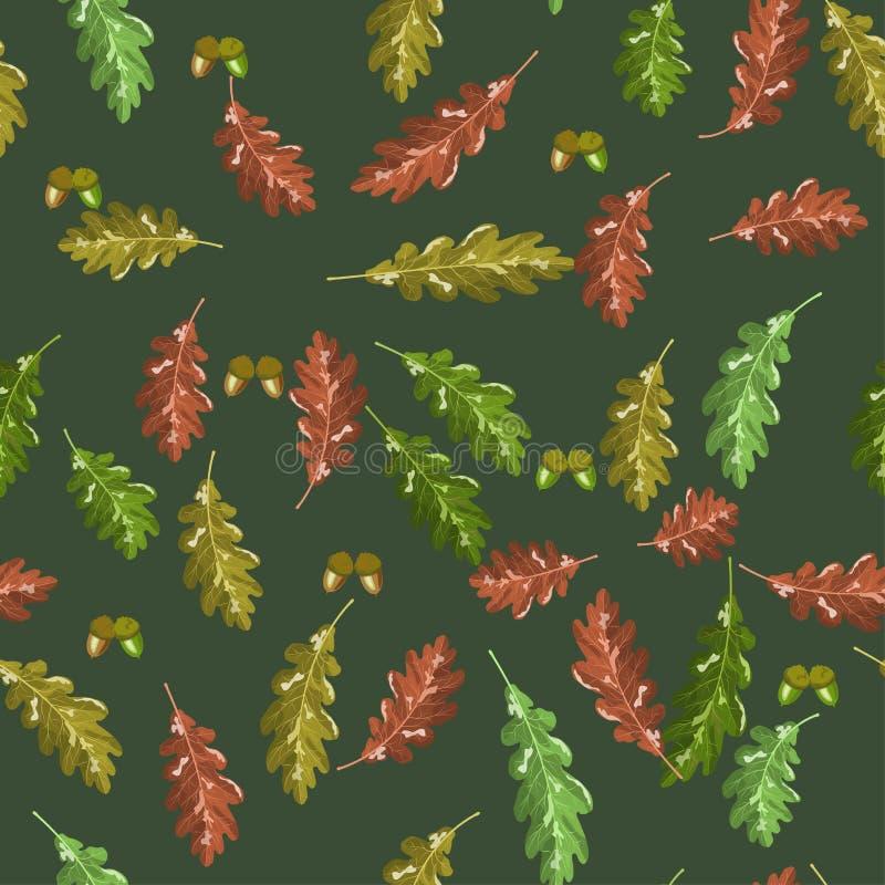 橡木accorn和秋天叶子传染媒介无缝的样式秋天深绿背景 库存例证