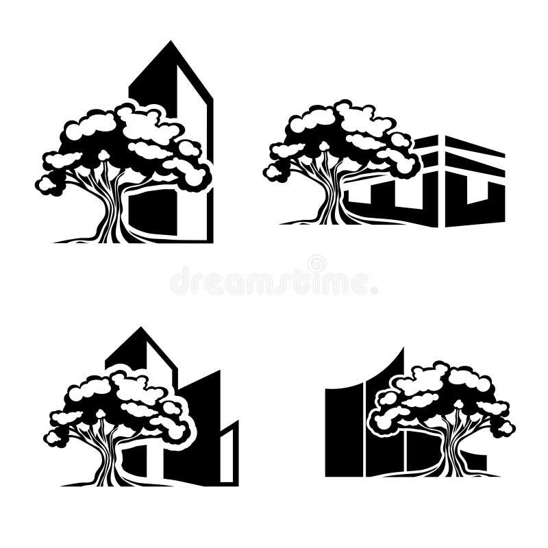 橡树不动产商标集合 向量例证