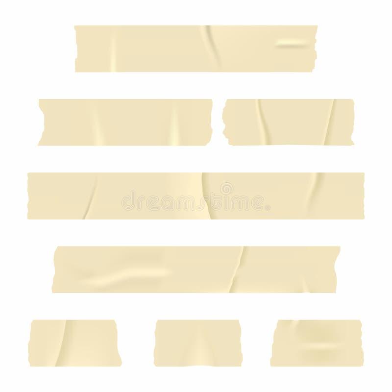 橡皮膏 在白色背景隔绝的套现实稠粘的磁带条纹 皇族释放例证