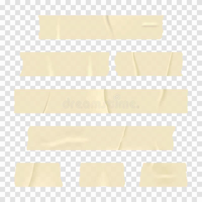 橡皮膏 在透明背景隔绝的套现实稠粘的磁带条纹 皇族释放例证
