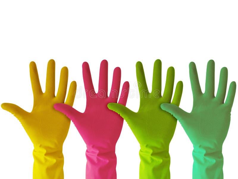 橡胶五颜六色的手套 库存图片