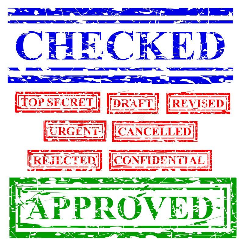 9橡胶红色蓝色和绿色邮票作用,提案提供相关,检查,最高机密,草稿,修改,迫切,被取消, 向量例证