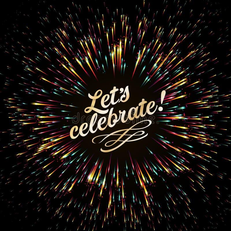 欢乐光明亮的爆炸  焕发作用 欢乐新年` s致敬 金黄的烟花 皇族释放例证