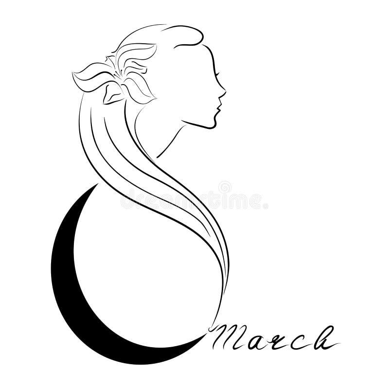 欢乐商标或明信片传染媒介例证 3月8日的国际妇女` s天 向量例证