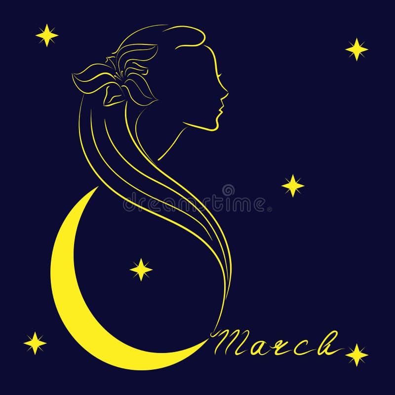 欢乐商标或明信片传染媒介例证 3月8日的国际妇女` s天 库存例证