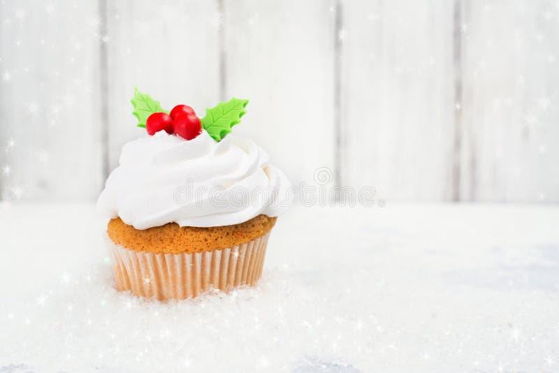 欢乐圣诞节的杯形蛋糕 库存照片