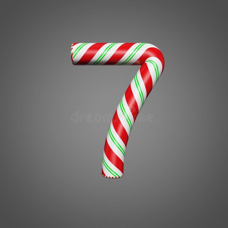 欢乐字母表第7 圣诞节字体由薄菏制成镶边了棒棒糖 3D在灰色背景回报 皇族释放例证