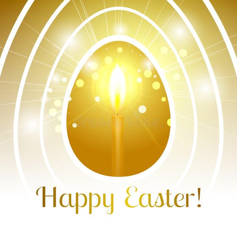 欢乐愉快的复活节贺卡用风格化金黄鸡蛋与 库存例证