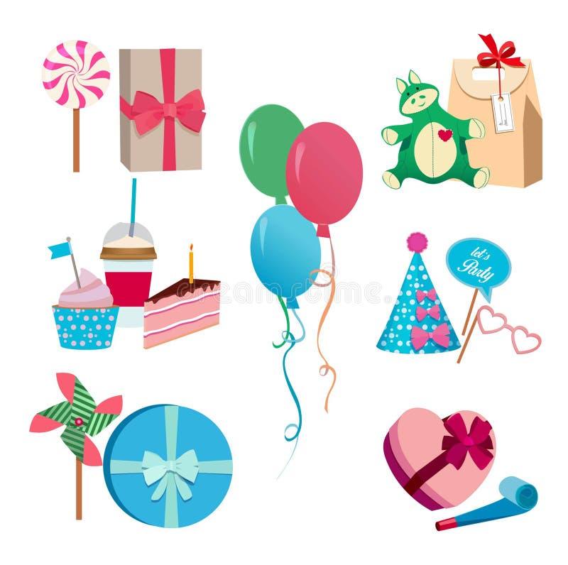 欢乐或生日聚会另外传染媒介元素集 气球、帽子旗子和色的面具 狂欢节乐趣 向量例证