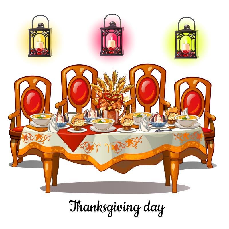 欢乐桌用食物在感恩天 葡萄酒在白色背景隔绝的餐厅内部 向量动画片 库存例证