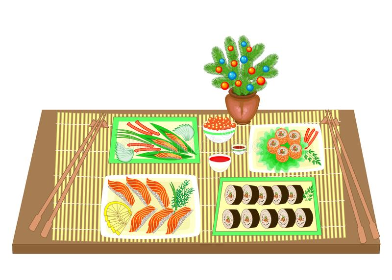 E 从圣诞树的新年花束 日本全国烹调被提炼的盘,海鲜,寿司,卷,鱼 库存例证