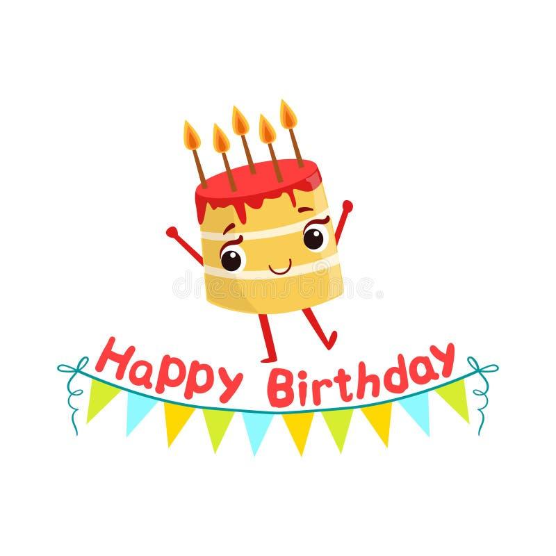 欢乐生日蛋糕和纸诗歌选孩子生日聚会愉快的微笑的生气蓬勃的对象动画片娘儿们的字符 向量例证