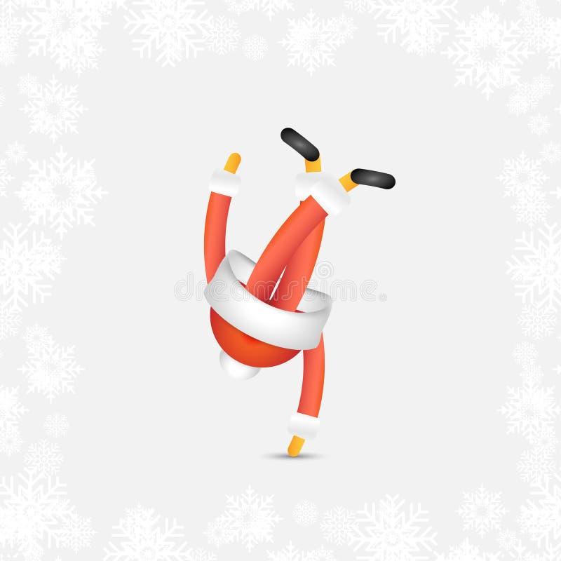 欢乐的圣诞老人舞蹈家B少年颠倒 圣诞节的抽象漫画人物和在一个红色帽子的新年 皇族释放例证