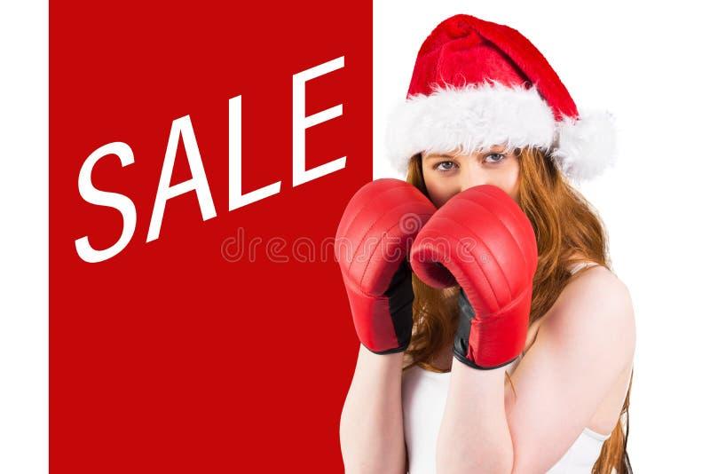 欢乐红头发人的综合图象与拳击手套的 库存图片