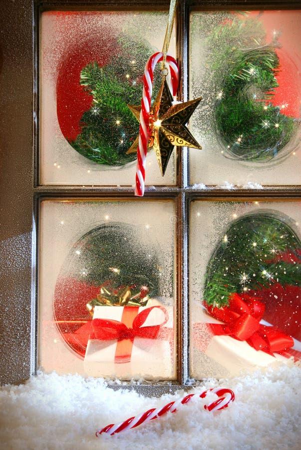 欢乐节假日视窗 免版税库存图片